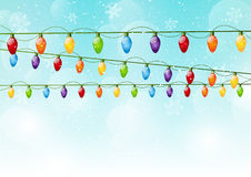 Christmas background with light bulbs Stock Images