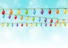 Christmas background with light bulbs. Christmas blue background with light bulbs Stock Images
