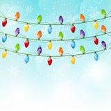 Christmas background with light bulbs 8. Christmas blue background with light bulbs Royalty Free Stock Photography