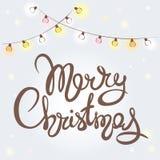 Christmas background with light bulbs Stock Photos