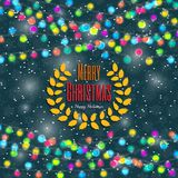 Christmas background with light lamps garlands Stock Photo