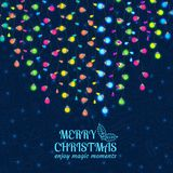 Christmas background with light lamps garlands Royalty Free Stock Photos