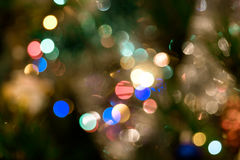 Christmas background with lights and blurred bokeh background. Stock Photo