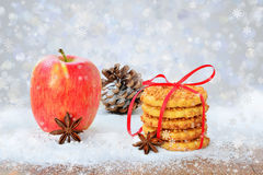 Christmas background with lights fruits and cookies stock image