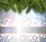 Christmas background lights. Christmas background, pine tree with lights and snow, vector illustration Stock Photography