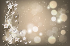 Christmas background with lights and stars Royalty Free Stock Images
