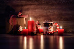 Christmas background with lit candles Stock Image