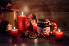 Christmas background with lit candles Royalty Free Stock Photos