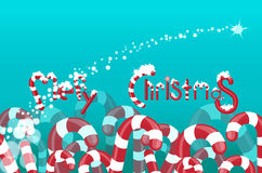 Christmas background of lollipops. The field of lollipops and candies.  logo Merry Christmas Royalty Free Stock Photo