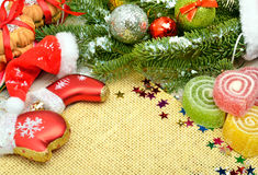 Christmas background, lollipops, pine twig Royalty Free Stock Image
