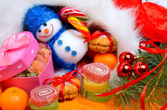 Christmas background, lollipops, pine twig. Stock Images