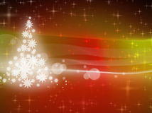 Christmas background with lots of shiny stars. And christmastree on the left Royalty Free Stock Photo