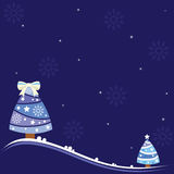 Christmas background with lovely trees, snowflakes and shiny stars. Stock Photography