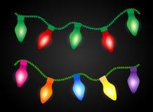 Christmas background with luminous garland. Royalty Free Stock Photo
