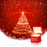 Christmas background with magic box Stock Image