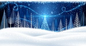 Christmas background with magic tree Royalty Free Stock Photography