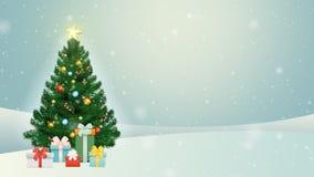 CHRISTMAS TREE, SNOWY BACKGROUND, SHINING STAR & PRESENT stock footage