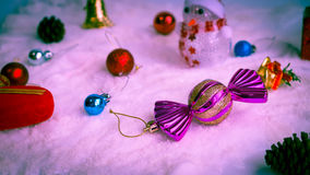 Christmas background. Many color ball on the snow, accessories of christmas day Stock Photography