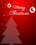 Christmas Background With X-Mas Tree. Background with Christmas elements. There is a Christmas tree & snow is falling Royalty Free Stock Photography