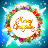 Christmas Background. Merry Christmas  card with gift boxes Stock Photo