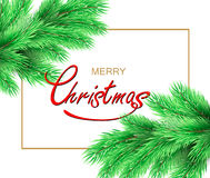 Christmas background. Merry Christmas postcard with fir tree branch and Christmas decorations, white background. Vector illustration Royalty Free Stock Image