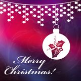 Christmas background with Merry Christmas tex. T, and with shining stars. Christmas red and dark blue background Royalty Free Stock Image