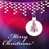 Christmas background with Merry Christmas text. And with shining stars. Christmas red and dark blue background Royalty Free Stock Photos