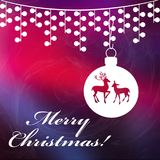 Christmas background with Merry Christmas text. And with shining stars. Christmas red and dark blue background Royalty Free Stock Image