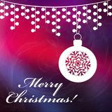 Christmas background with Merry Christmas text. And with shining stars. Christmas red and dark blue background Stock Photos