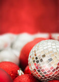 Christmas background with mirror ball stock photography