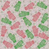 Christmas background mittens kids Royalty Free Stock Photography