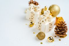 Christmas background. Mockup christmas. Top view and gold christmas items. Christmas background. Mockup christmas. Table view and gold christmas items royalty free stock photo