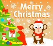 Christmas background with monkey Royalty Free Stock Photo