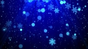 Christmas background motion graphics footage blue theme, with the glittering particles snowflake falling and shine lights looped