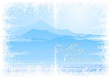 Christmas background with mountain view Stock Photos