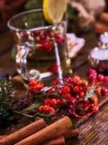 Christmas background with mug decoration lemon slice hot drink . Stock Image