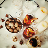 Christmas background with mulled wine Royalty Free Stock Photos