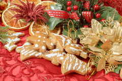 Christmas background with needles. orange slices and gingerbreads Royalty Free Stock Photos