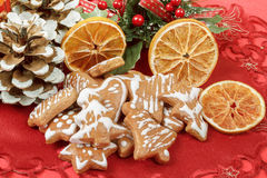 Christmas background with needles. orange slices and gingerbreads Stock Images