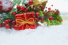Christmas background nestled in snow Stock Photo