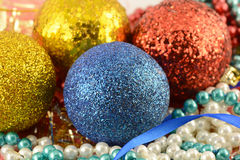 Christmas background with new year balls and pearls set Stock Photos