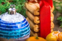 Christmas background. New Year composition. Selective focus Royalty Free Stock Images