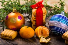 Christmas background. New Year composition. Selective focus Stock Photos