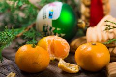 Christmas background. New Year composition. Selective focus Royalty Free Stock Image