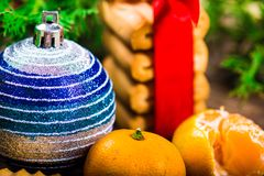 Christmas background. New Year composition. Selective focus Royalty Free Stock Photos