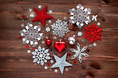 Christmas background with New Year decorations in shape of heart. Stock Photo