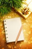 Christmas background with notepad Royalty Free Stock Photography