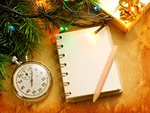 Christmas background with notepad Royalty Free Stock Photos