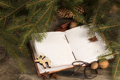 Christmas background - old blank open book. With Christmas decoration Royalty Free Stock Images