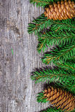 Christmas background on the old board Royalty Free Stock Photography